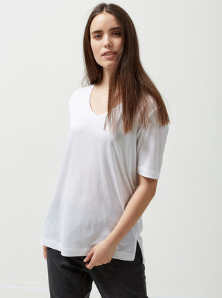 Tricou alb cu decolteu in V Selected Femme Lyro