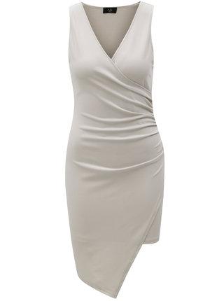 Sivé šaty s prekladaným výstrihom AX Paris