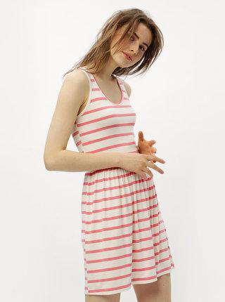 Bielo–ružové pruhované šaty s prestrihom na chrbte ONLY Rina