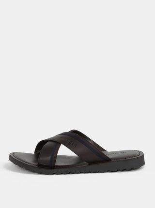 Tmavě hnědé pánské kožené pantofle Tommy Hilfiger