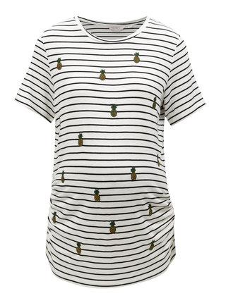 Čierno-biele pruhované tehotenské tričko Dorothy Perkins Maternity
