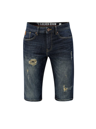 Pantaloni barbatesti albastru inchis scurti slim fit din denim s.Oliver