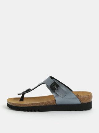Papuci de dama flip-flop ortopedici albastru-gri cu aspect metalic Scholl Boa Vista Up
