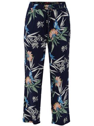 Tmavomodré dámske kvetované nohavice s.Oliver
