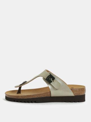 Papuci de dama flip-flop ortopedici bej cu aspect metalic Scholl Boa Vista Up