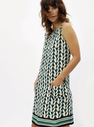Bílo-zelené vzorované volné šaty Dorothy Perkins