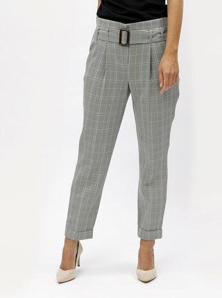Sivé kockované nohavice s vysokým pásom Dorothy Perkins