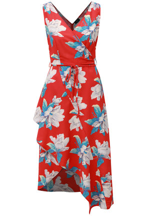 Červené kvetované asymetrické šaty AX Paris