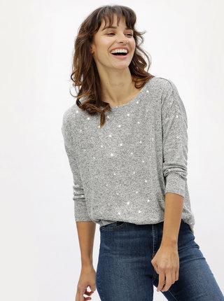 Šedý žíhaný lehký svetr s motivem hvězd ONLY