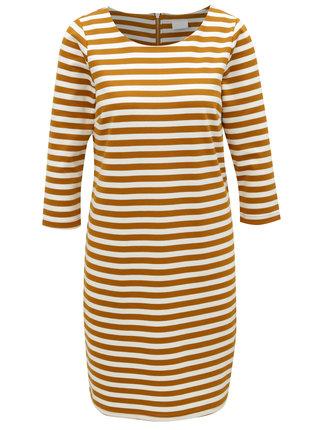Horčicovo-krémové pruhované šaty VILA Vitinny
