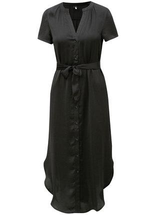 Čierne košeľové midišaty s opaskom VERO MODA Alba