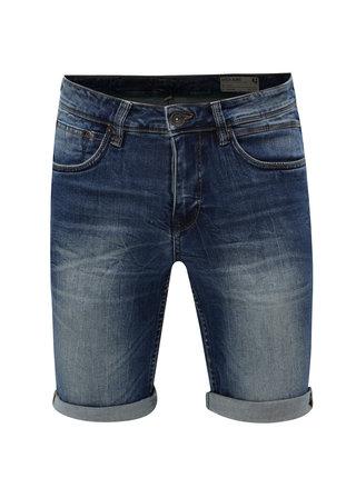 Pantaloni barbatesti scurti albastru inchis din denim cu aspect prespalat Garcia Jeans Russo short