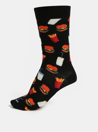 Sosete unisex negre cu model Happy Socks Hamburger