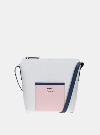 Geanta roz-alb din piele naturala ELEGA