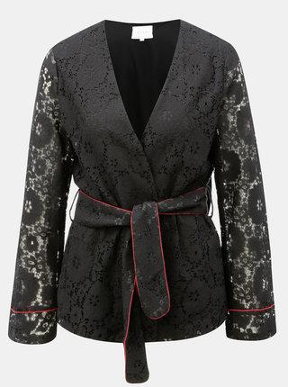 Černé krajkové kimono s páskem VILA Luas