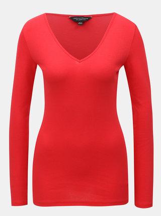 Červené basic tričko s dlouhým rukávem Dorothy Perkins