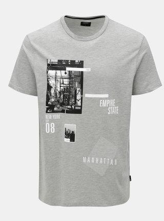 Sivé melírované tričko s potlačou Burton Menswear London