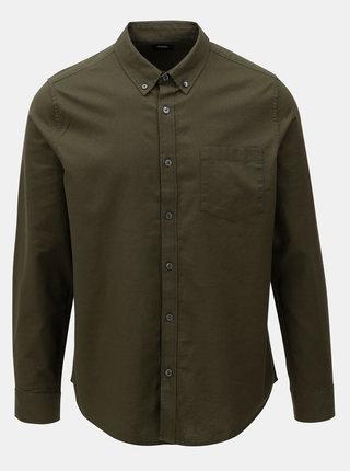 Camasa verde inchis cu buzunar la piept si maneci lungi Burton Menswear London