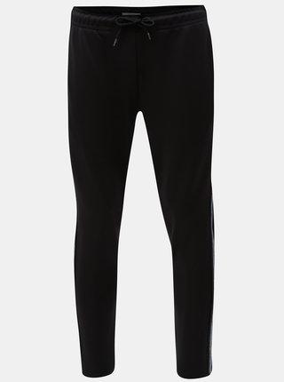 Pantaloni sport negri cu dungi pe laturile Jack & Jones Dean