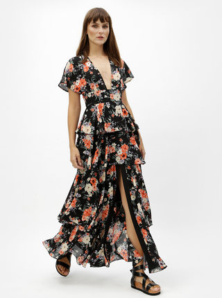 Rochie maxi neagra cu model floral si volane MISSGUIDED