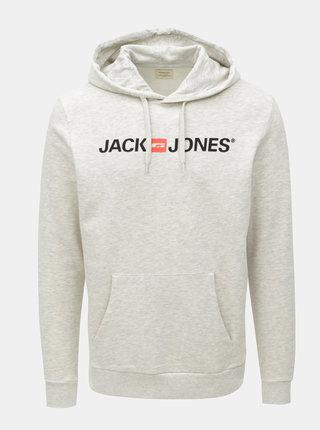 Světle šedá žíhaná mikina s potiskem a kapucí Jack & Jones Corp