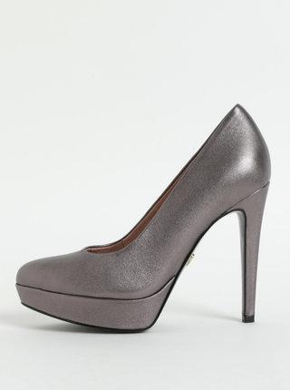Pantofi gri din piele naturala cu aspect metalic, toc cui si platforma Tamaris