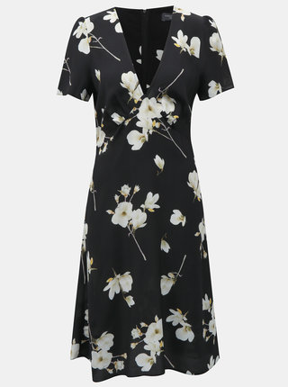 Rochie neagra cu model floral si decolteu in V Dorothy Perkins Tall