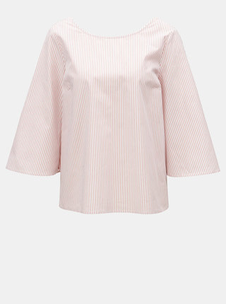 Bílo-růžová vzorovaná halenka s mašlí na zádech VILA Justy