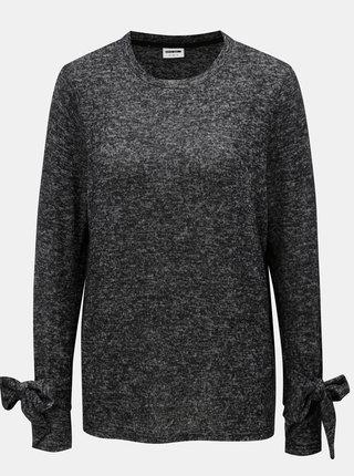 Čierny melírovaný tenký sveter s mašľou na rukávoch Noisy May