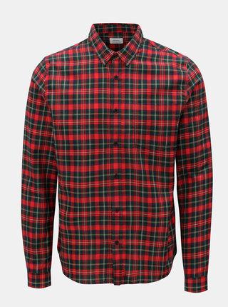 Červená kostkovaná košile s náprsní kapsou Burton Menswear London