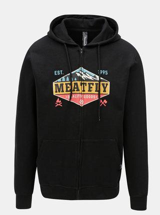 Čierna pánska mikina na zips s potlačou Meatfly