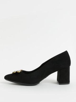 Pantofi negri din piele intoarsa cu decoratie OJJU
