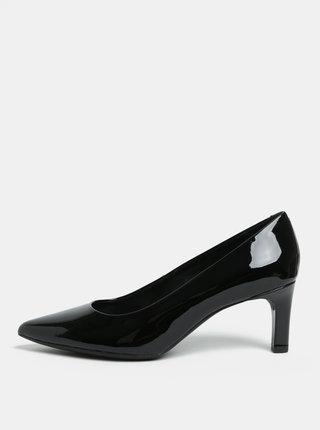 Pantofi negri cu aspect lucios din piele naturala cu toc Geox Bibbiana