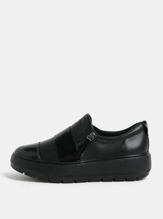 Pantofi sport negri din piele cu platforma Geox Kaula