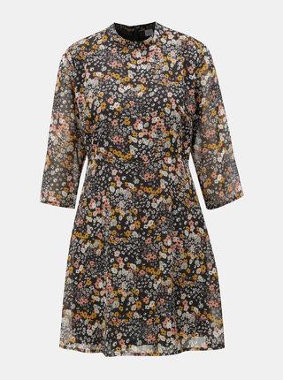 Tmavě modré květované šaty s 3/4 rukávy Jacqueline de Yong