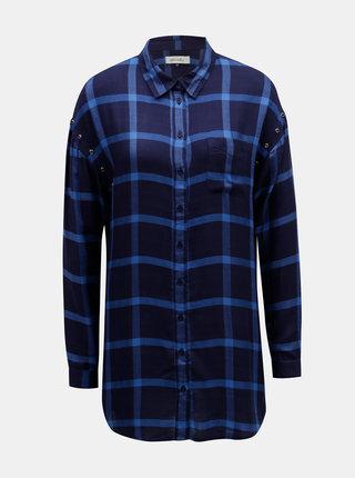 Tmavě modrá kostkovaná košile s prodlouženou délkou Blendshe Tobys