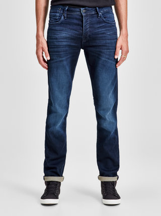 Blugi albastri slim fit din denim Jack & Jones Leon