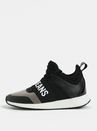 Pantofi sport inalti negri de dama cu banda elastica si text in fata Pepe Jeans Koko