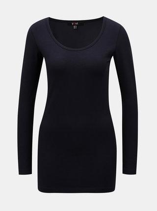 Tmavomodré basic tričko s predĺženou dĺžkou a dlhým rukávom Yest