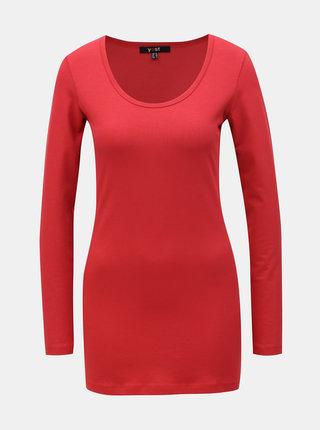 Červené basic tričko s predĺženým dielom a dlhým rukávom Yest
