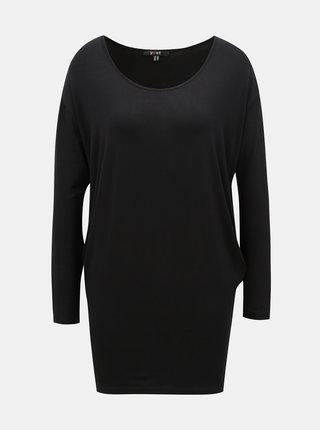 Čierne voľné basic tričko s predĺženou dĺžkou Yest