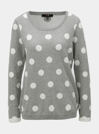 Sivý bodkovaný sveter s okrúhlym výstrihom Yest