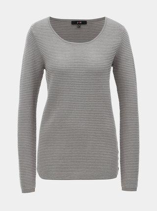 Šedý žebrovaný svetr Yest