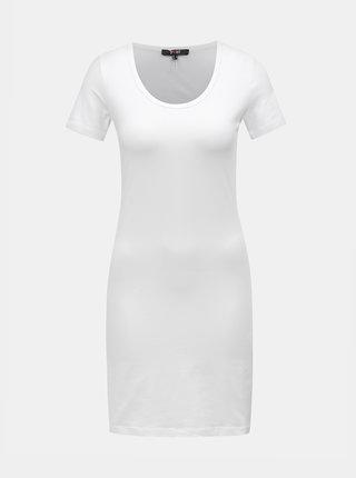 Bílé basic šaty s krátkým rukávem Yest