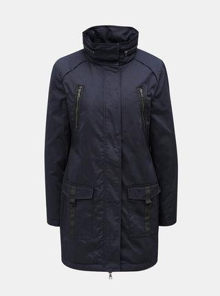 Tmavomodrý kabát s kapucňou v golieri Yest