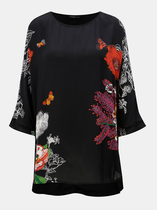Bluza neagra cu model si maneci 3/4 Desigual Karenina