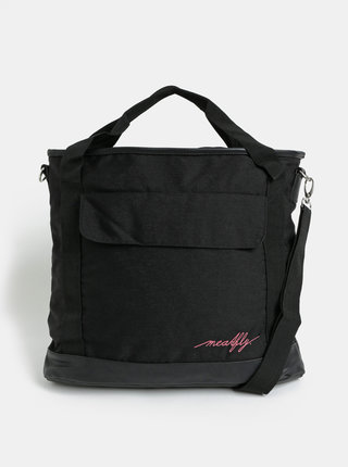 Čierna kabelka s vreckom na notebook a odnímateľným popruhom Meatfly Kuna
