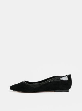 Čierne semišové baleríny Dune London