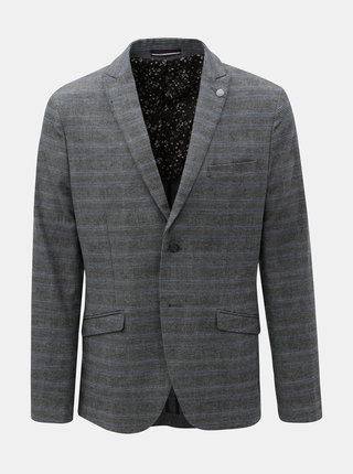 Sivé kockované sako Selected Homme Slim