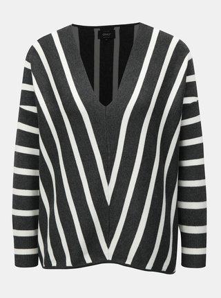 Šedý  pruhovaný svetr ONLY Aya